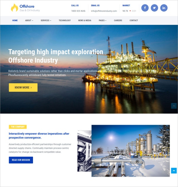 Industrial Business HTML5 Theme $48