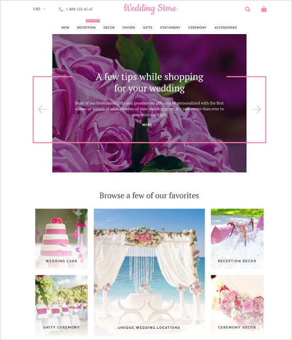 Wedding Store eCommerce Shopify Theme $70