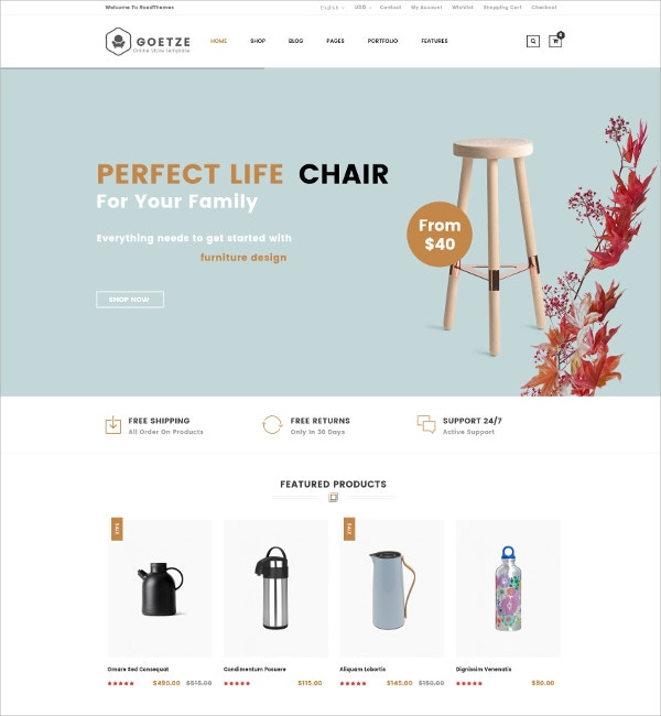 Responsive eCommerce WordPress Theme $59