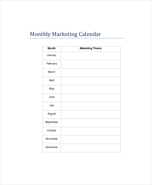 Marketing Calendar Templates  Free Sample Example Format