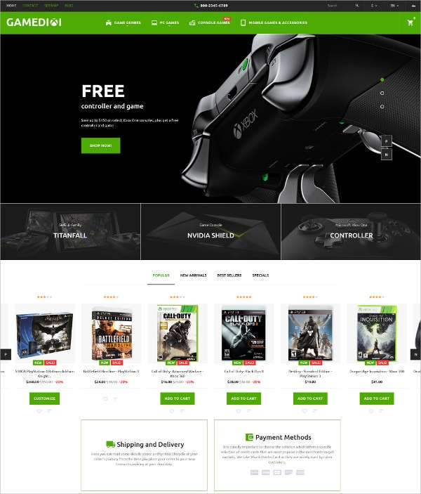 Game Store eCommerce PrestaShop Theme $139