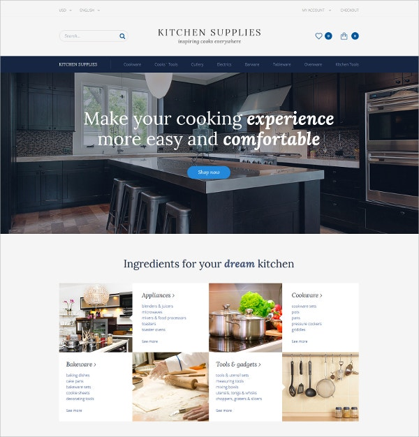 Kitchen Store eCommerce OpenCart Template $89