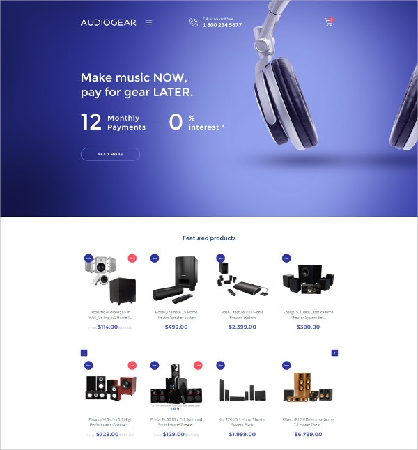 Audio Music SHOP System Shopify eCommerce Theme $139