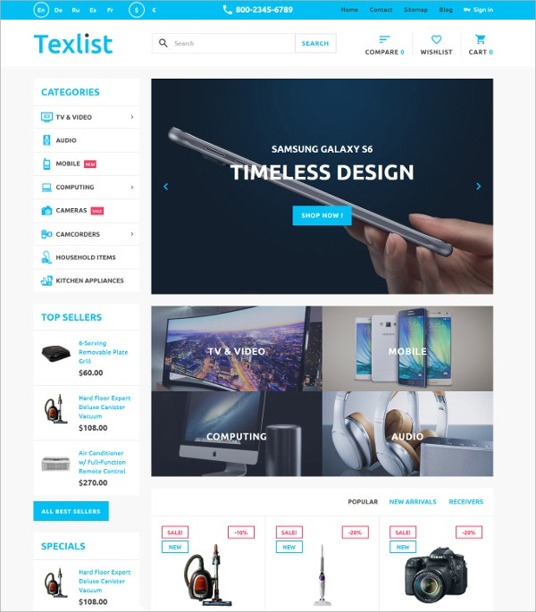 Gadgets Design eCommerce PrestaShop Theme $139