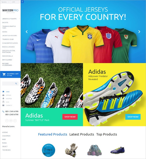 Soccer Wear Clothes eCommerce VirtueMart Template $139
