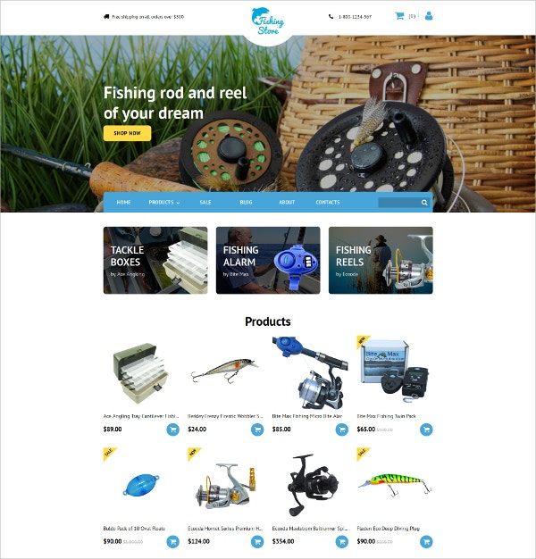 Fishing Responsive eCommerce Template $199
