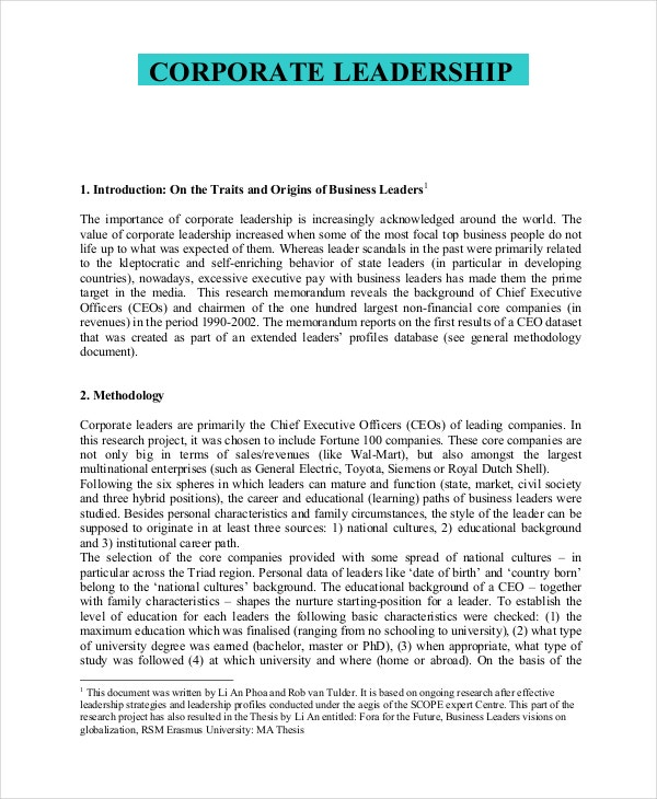 corporate leadership philosophy example