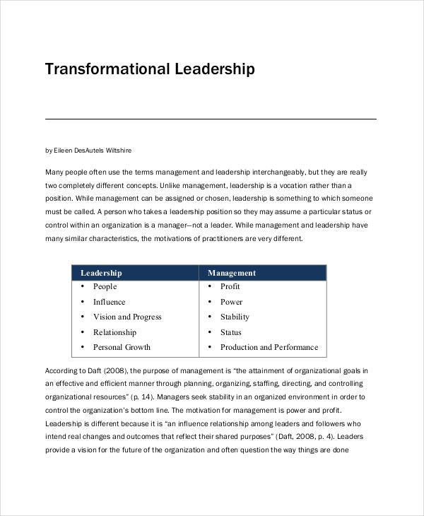 transformational leadership philosophy example