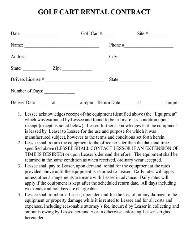 golf coontract rental contract template