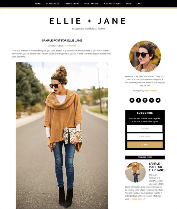 Fashion Blog eCommerce WordPress Theme $35