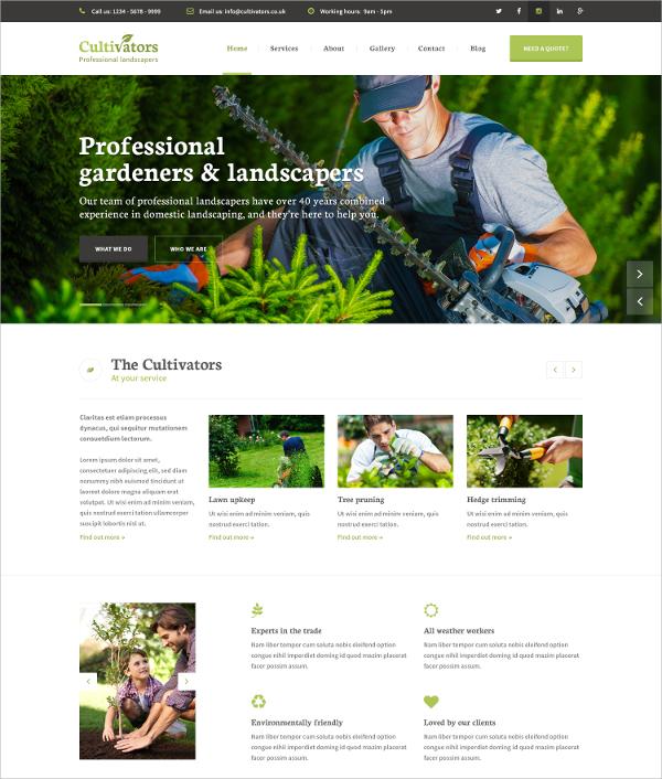 Professional Gardening Design Drupal Theme $14