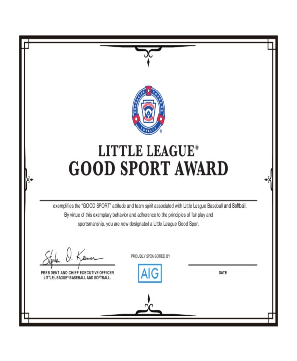 Best Little League Baseball Award Templates