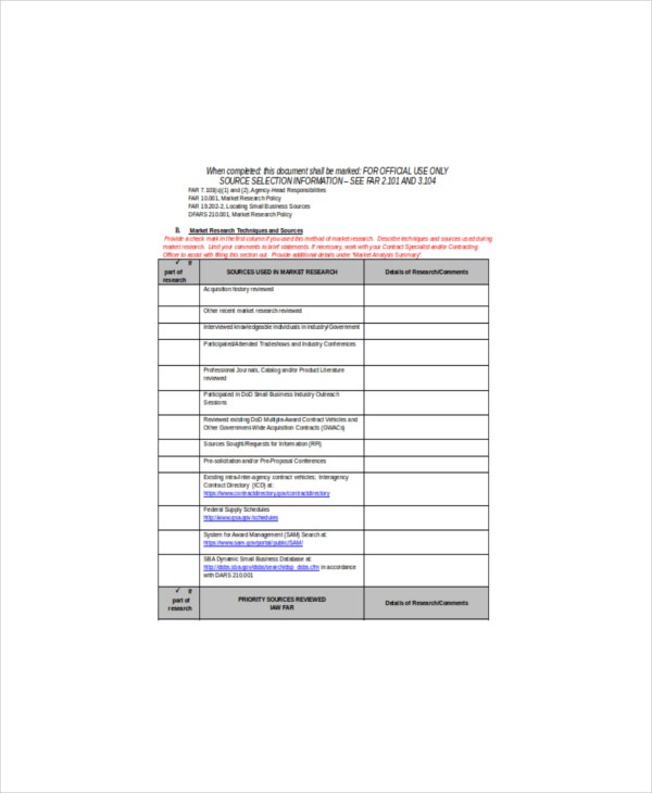 market research report sample template