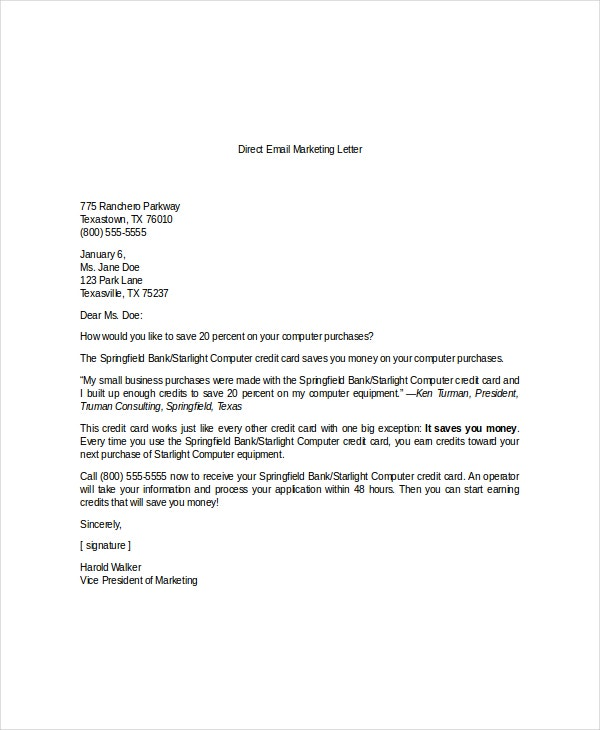 Marketing Letter Templates  Free Sample Example Format