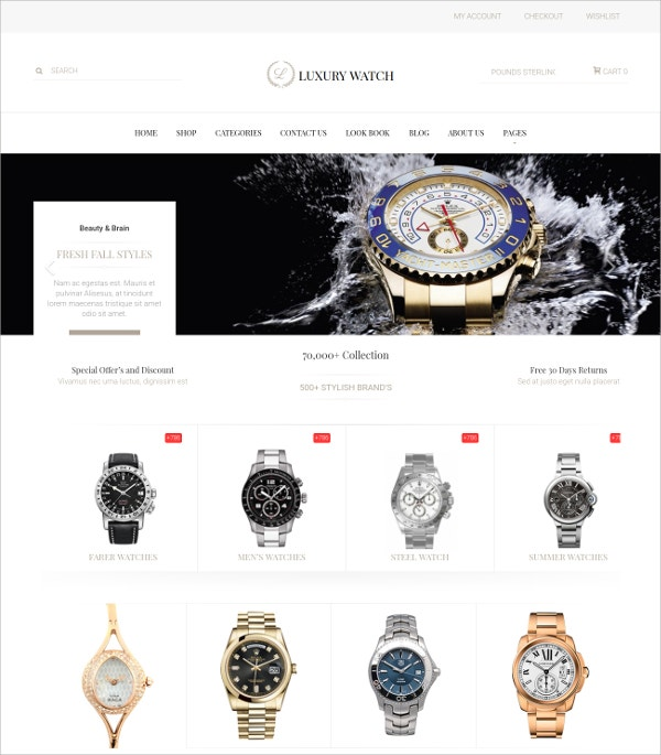 Watches eCommerce WordPress Theme $59