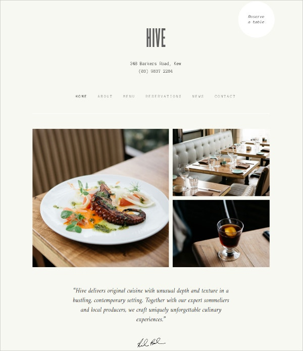 Restaurant & Cafe WordPress Theme $49