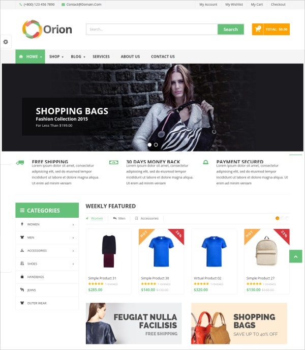 Business & eCommerce WordPress Theme $59
