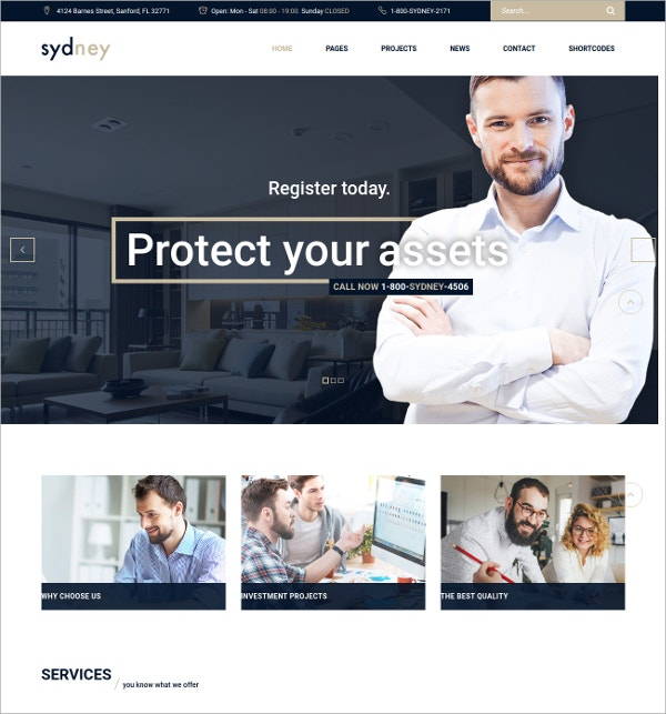 Financial Business WordPress Theme $49