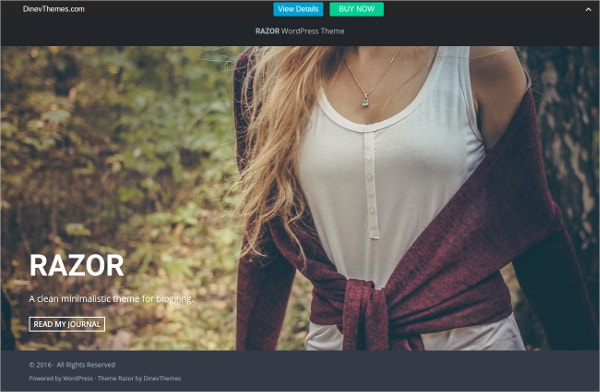Fullscreen WordPress Blog Theme $19