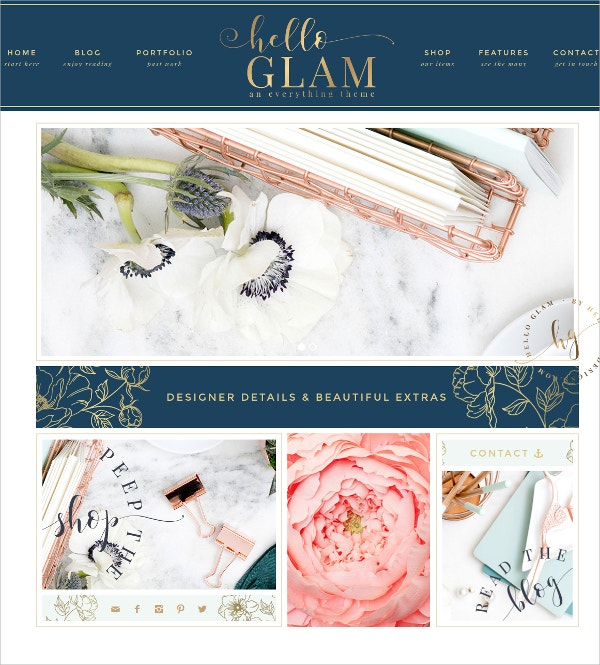 Feminine WordPress Theme $75