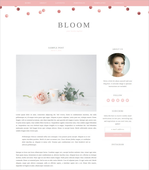 Premium Feminine Blog vWordPress Theme $40