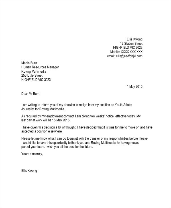 Letter Of Resignation Template - 16+ Free Word, Pdf Document