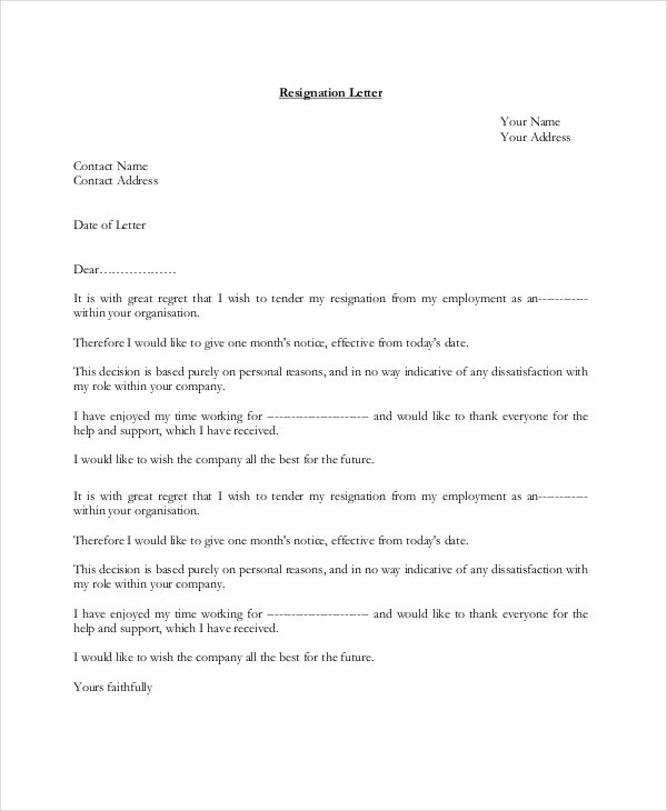 Letter Of Resignation Template   Free Word Pdf Document