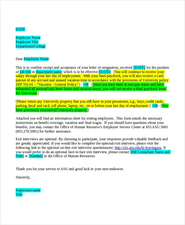 Acceptance-Resignation-Letter Sample Job Acceptance Letter Template on