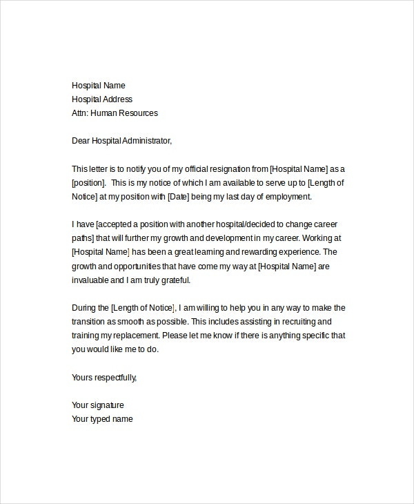 Formal Nursing Resignation Letter Template