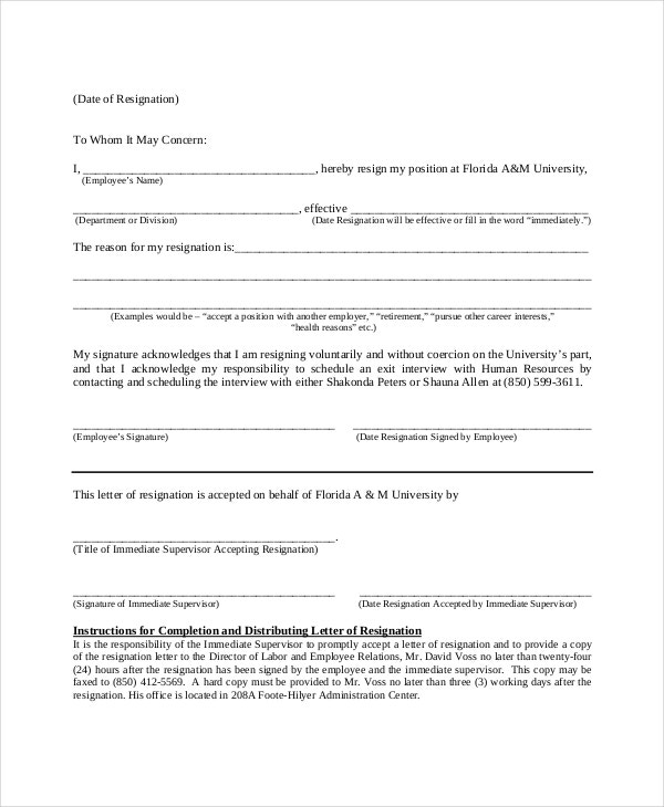 Illness Immediate Resignation Letter Template
