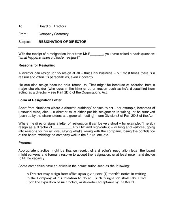 director email resignation letter template