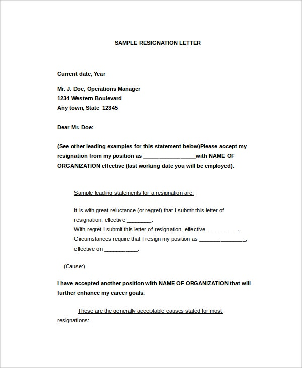 Letter of Resignation Template 16 Free Word PDF Document – Samples of Resignation Letters with Regret