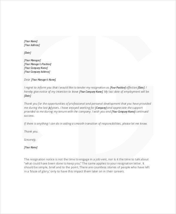 Reasonable Notice Resignation Letter Template
