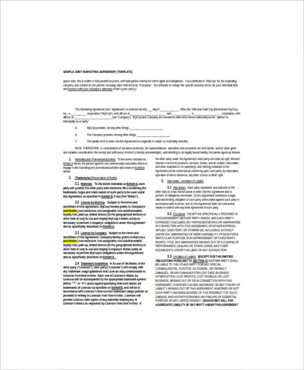 8 marketing agreement templates free sample example format free premium templates. Black Bedroom Furniture Sets. Home Design Ideas