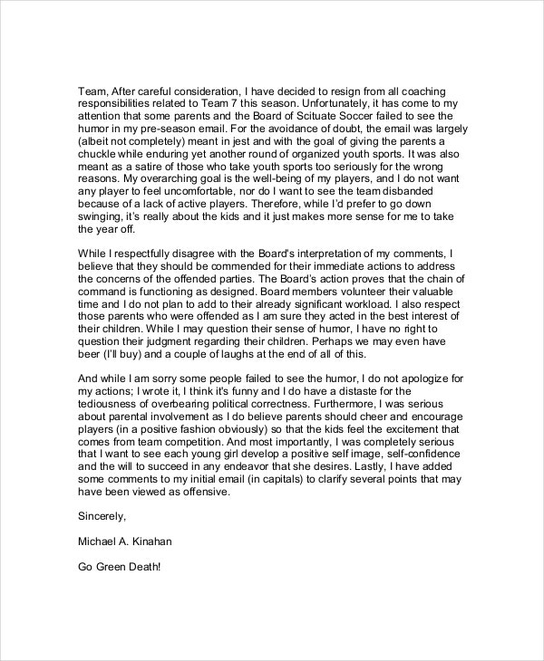 Funny Resignation Example Letter to Co-Workers