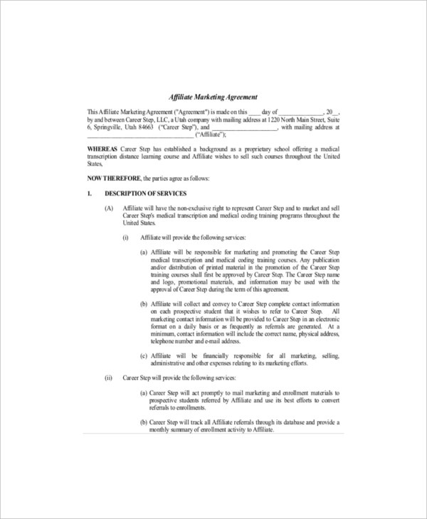 8 Marketing Agreement Templates Free Sample Example Format – Training Agreement Template