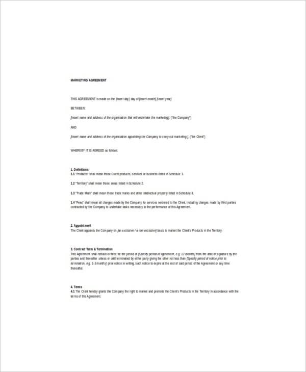 Marketing Agreement Template  Free Sample Example Format