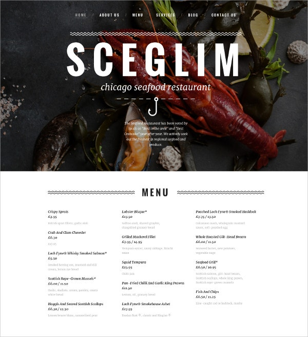 Seafood Restaurant Blog Template $199