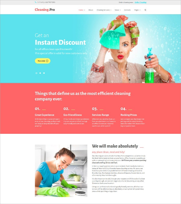 Cleaning Responsive Blog WordPress Theme $75