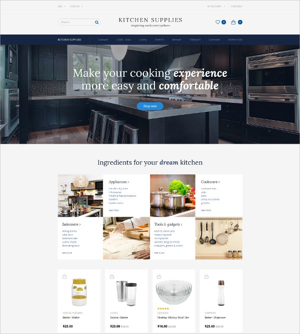 Kitchen Supplies Blog OpenCart Template $89