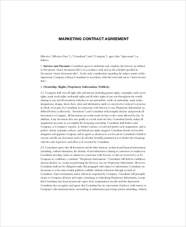 sample marketing contract agreement template