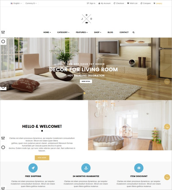 Decorate Blog Prestashop Theme $69