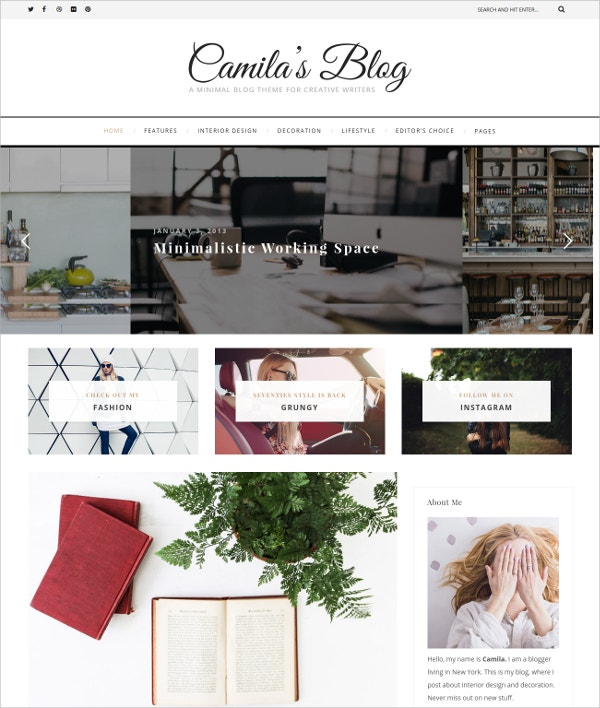 Modern Photography WordPress Blog Theme $39