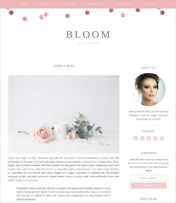 Feminine Blog WordPress Theme $40