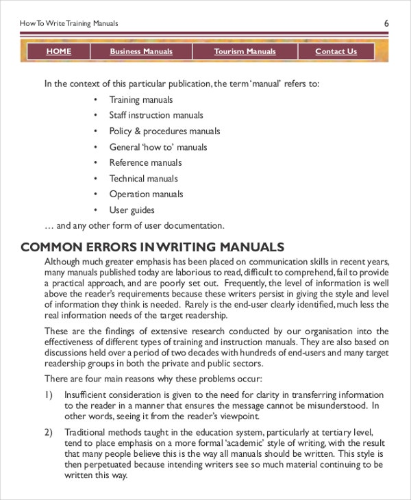 Manual Templates Word  Free Training Manual Templates