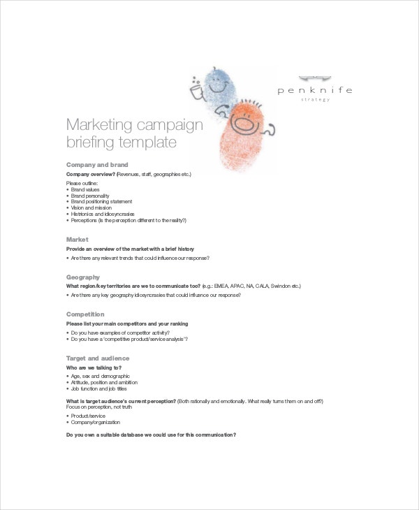 Marketing Brief Templates  Free Sample Example Format  Free