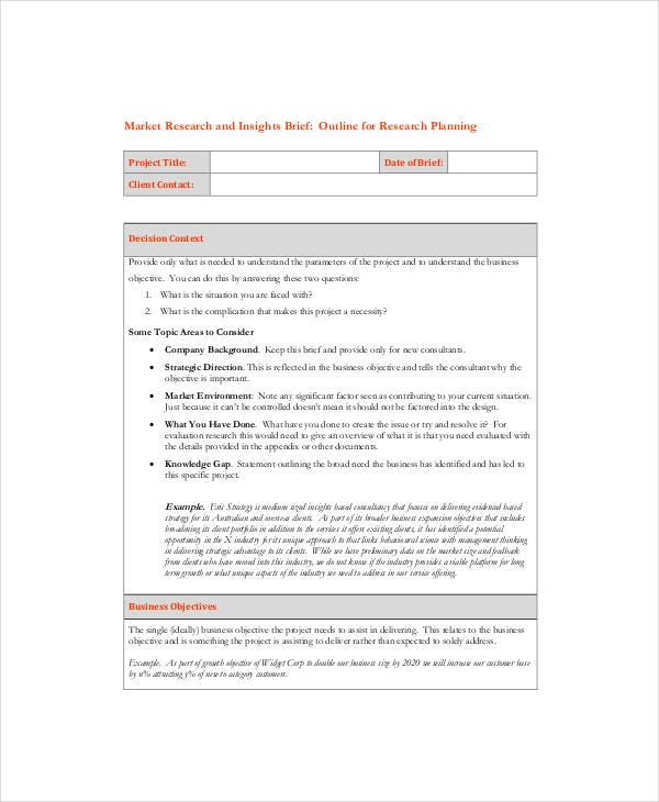 example market research brief template