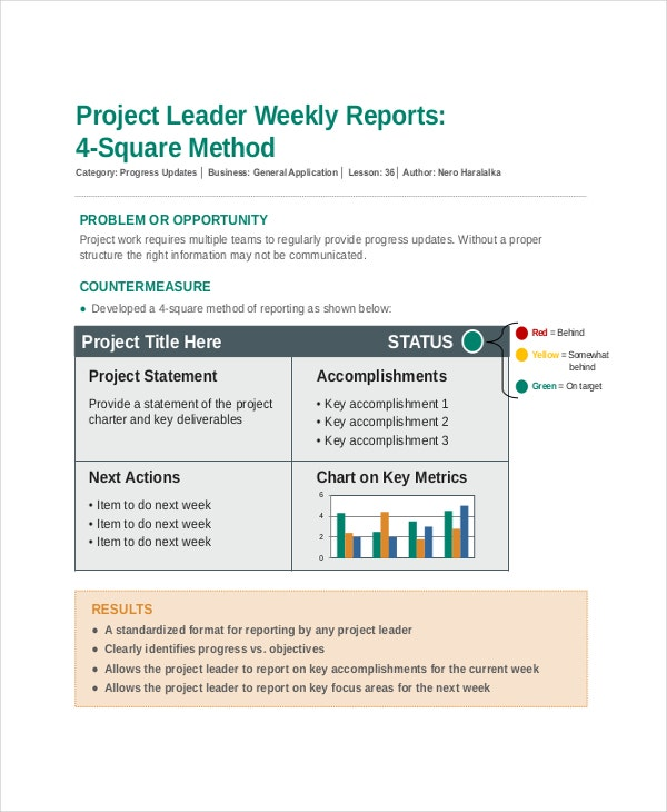 project leader weekly upadte report