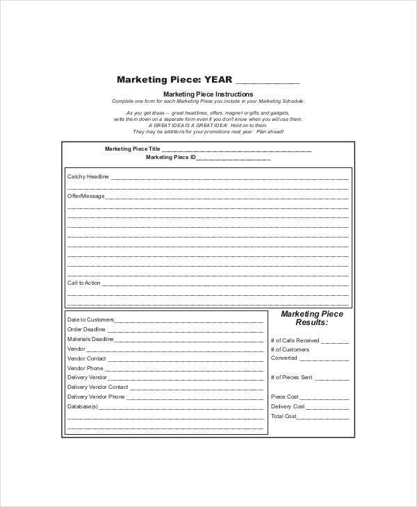 Marketing Schedule Templates  Free Sample Example Format