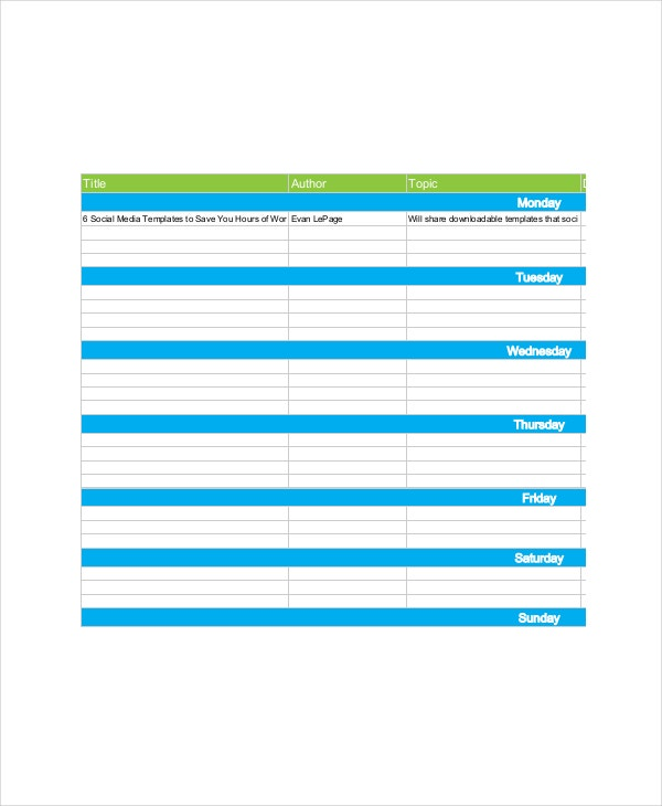 7 Marketing Schedule Templates Free Sample Example Format – Sample Marketing Schedule
